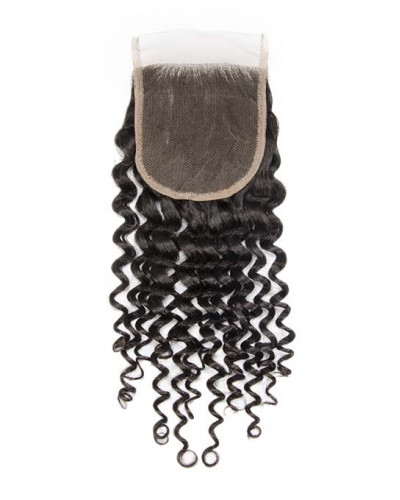 4x4 Lace Closure Natural Color Deep Curly Brazilian Virgin Hair