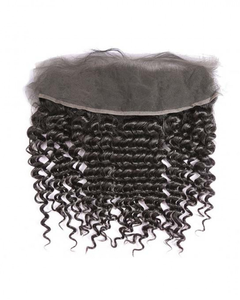 13x4 Lace Frontal Natural Color Deep Curly Brazilian Virgin Hair