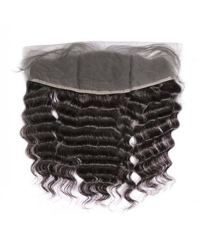 13x4 Lace Frontal Natural Color Deep Wave Brazilian Virgin Hair