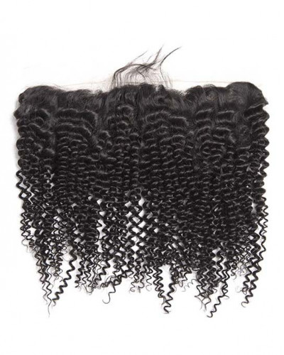 13x4 Lace Frontal Natural Color Kinky Curly Brazilian Virgin Hair
