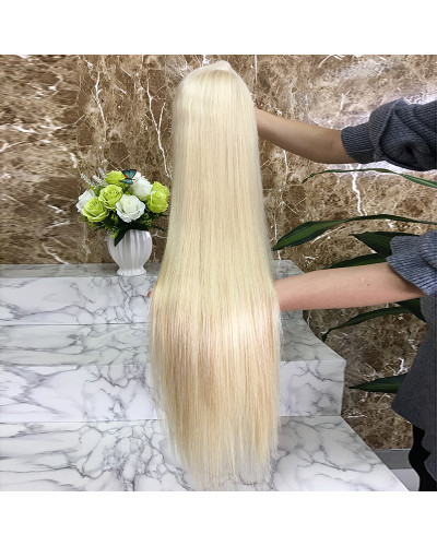 613 Virgin blonde brazilian lace front real human hair wig