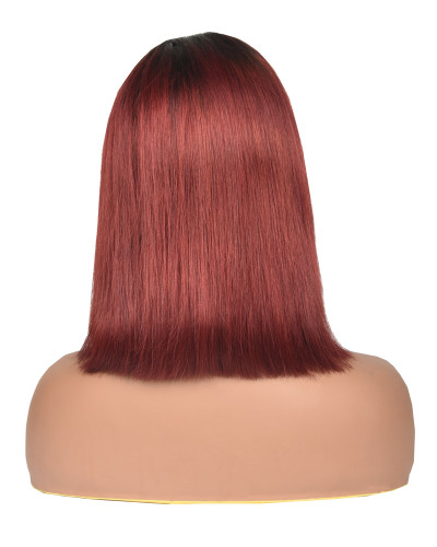 1B99J|Pre-plucked human hair bob lace wig|silky straight