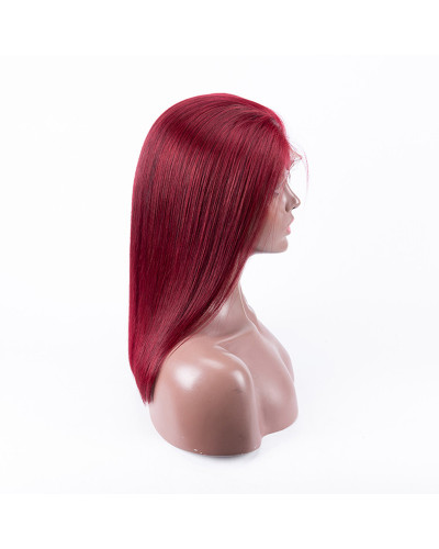 Colorful human hair wig Hot Sale 99j Bob 150% Density Lace Front Wig