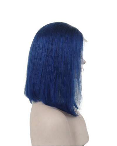 Blue color|Lace front wig |short bob wig |straight hair