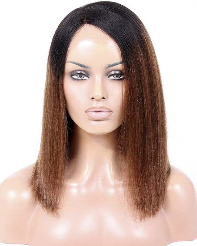 Ombre Color Silky Straight Short Bob Lace Front Wigs