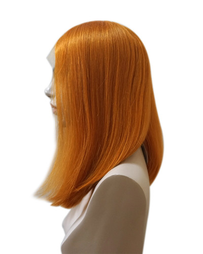 Pre-plucked light orange human hair bob lace wig |silky straight