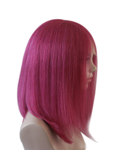 Lace front|human hair bob wigs|short bob wig | silky straight |Pink color