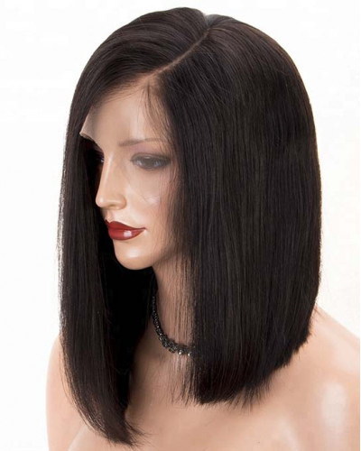 Silk Straight Side Part Short Bob Lace Front Wigs