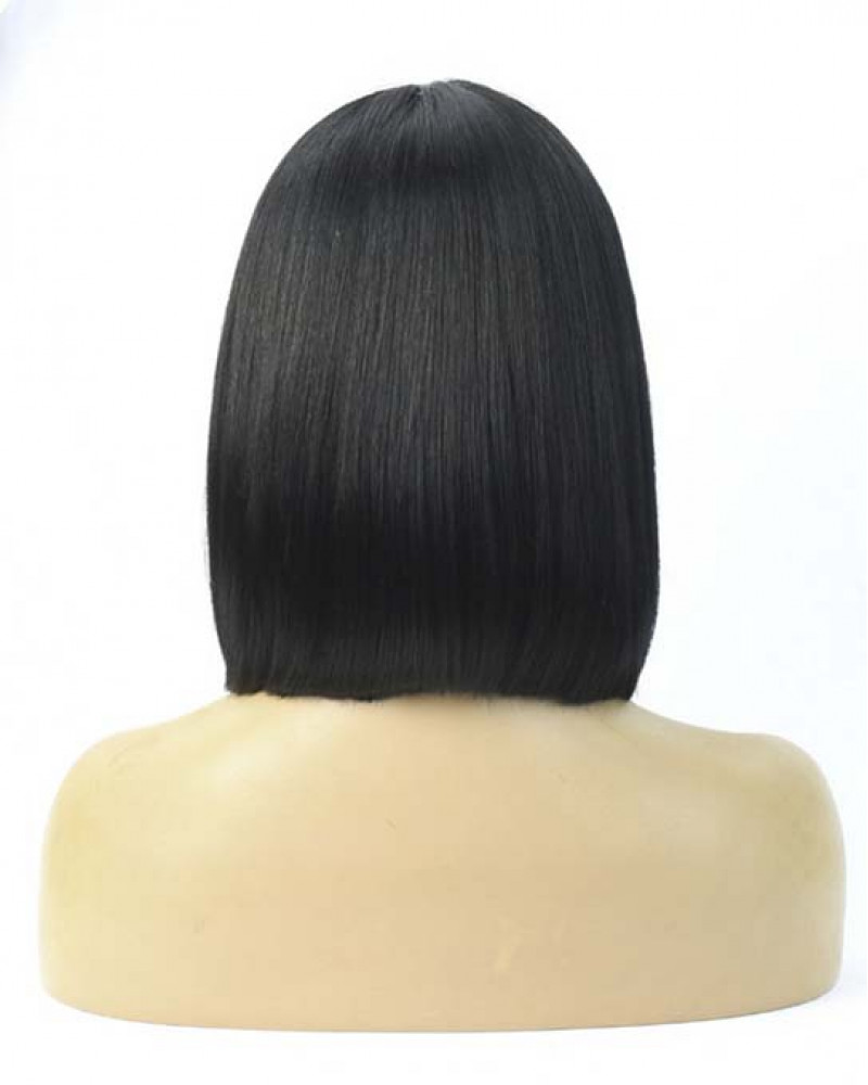 Short Straight Bob With Bangs Brazilian Virgin Hair Lace Front Wigs