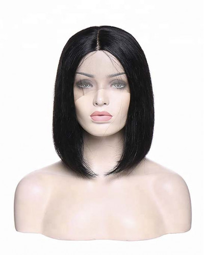 ISSA Black Short Bob Straight 150% Density Lace Front Wigs