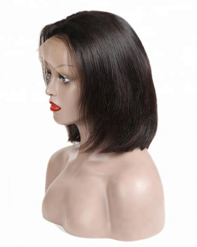 10 Inch Short Bob Hair Black Color Lace Front Wigs