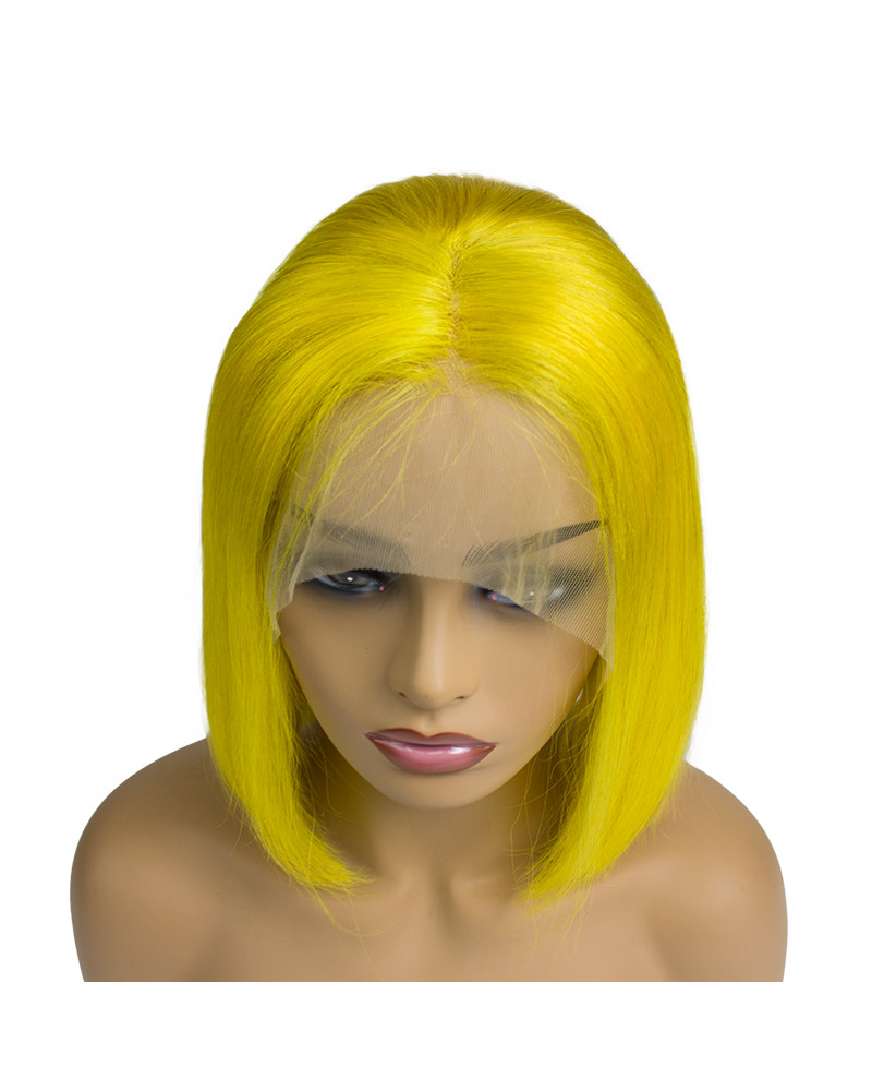 Hot Sale yellow Bob 150% Density human hair Lace Front Wig