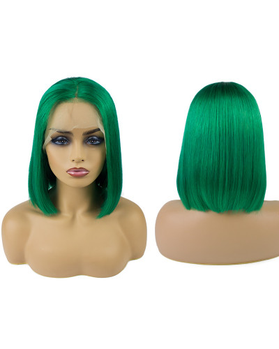 Brazilian colorful bob green style human hair short bob lace front wigs lace wigs