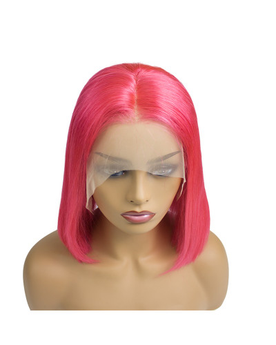 Hot Sale HIgh Quality Human hair Rose red Bob 150% Density Lace Front Wig