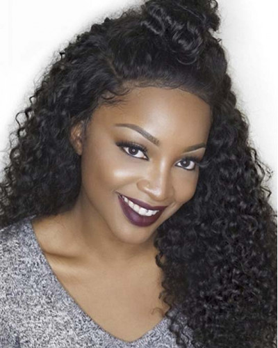 6in Pre-Plucked Kinky Curly Brazilian Virgin Hair Lace Front Wigs