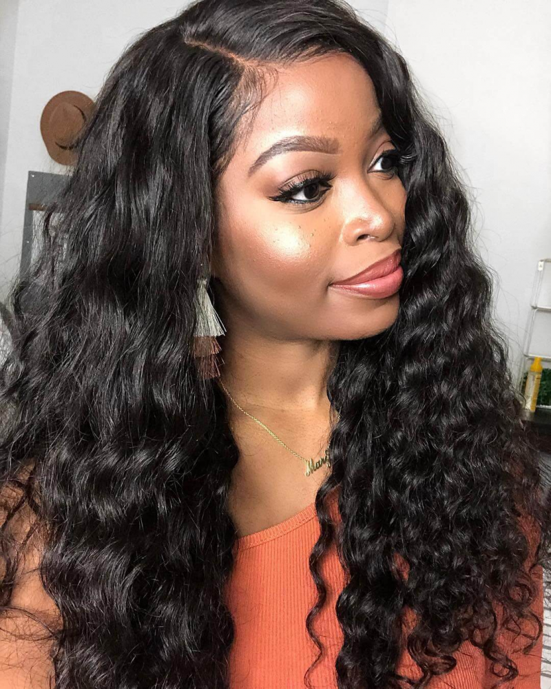 6in Lace Front Wigs Loose Curly Brazilian Virgin Hair