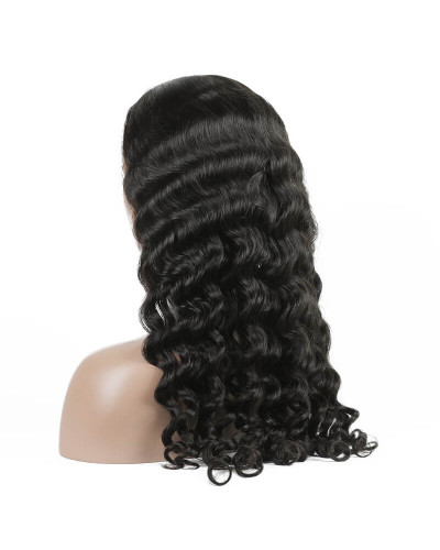 Pre Plucked Loose Curly Brazilian Virgin Hair Lace Front Wigs