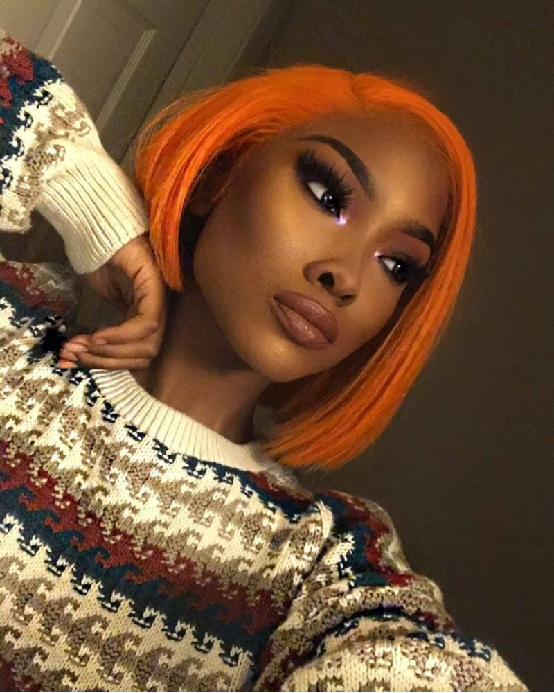 2018 Hot Sale Orange Bob 150% Density Lace Front Wig