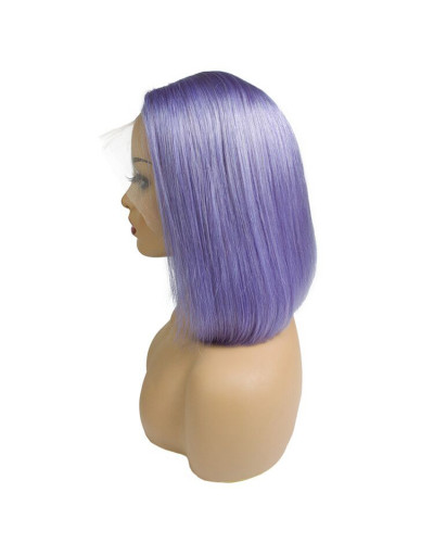 Colorful human hair Wig Purple Silky Raw Straight Lace Front Bob Wigs