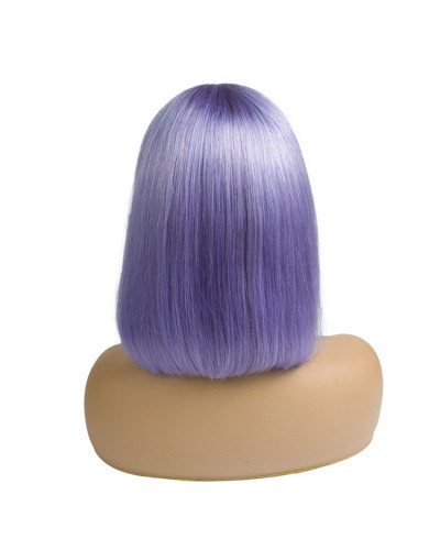 Colorful Human Hair Wig Most Popular Purple Wig 150% Density Lace Front Wig