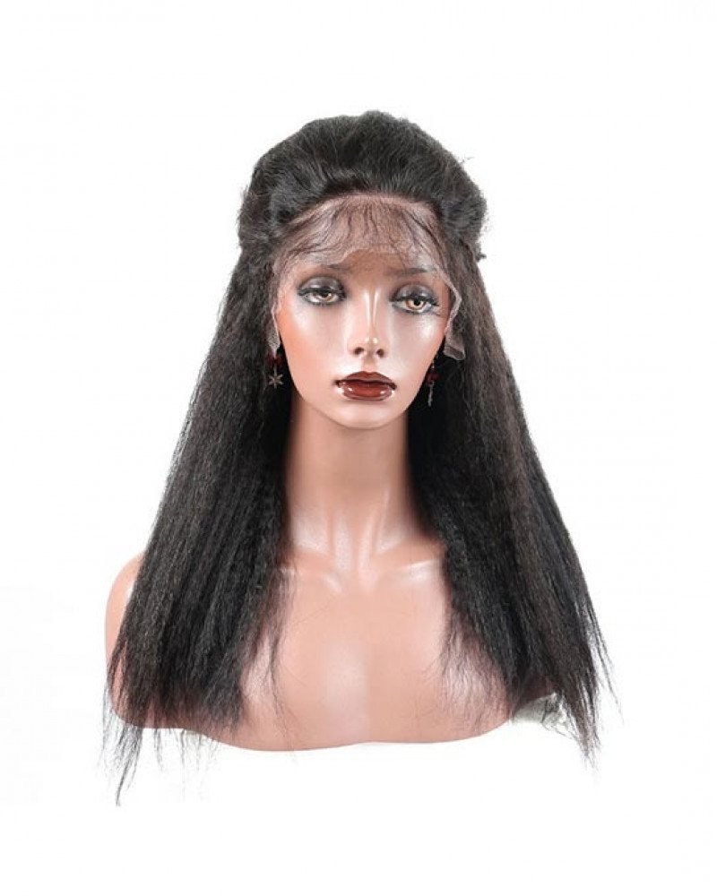 6in Lace Front Wigs Kinky Straight 150% density Indian Remy Hair