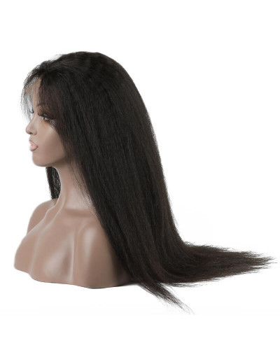 6in Lace Front Wigs Kinky Straight 150% density Indian Hair