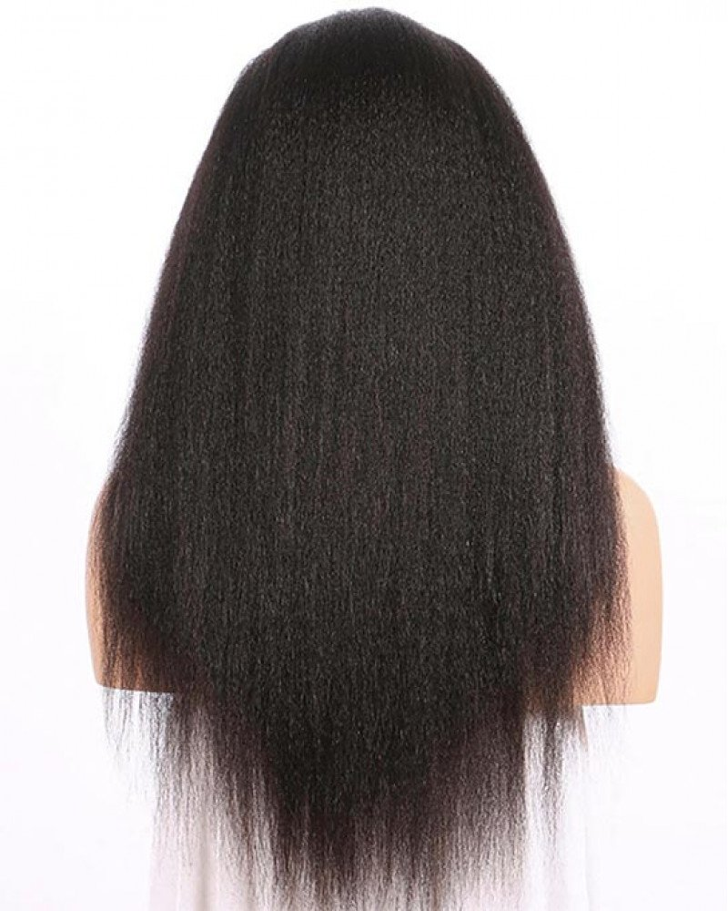 Pre Plucked Kinky Straight Brazilian Virgin Hair Lace Front Wigs