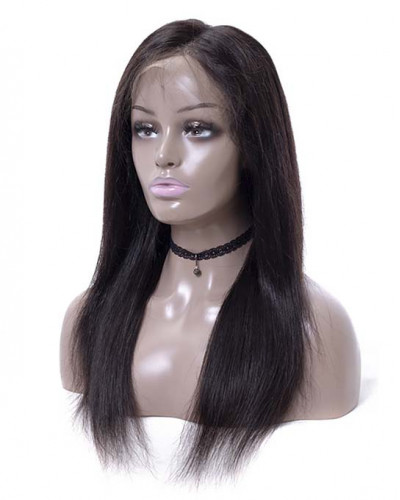 Silky Straight 16 Inch 130% Density Black Color Lace Front Wigs
