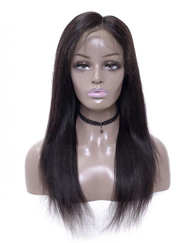 Pre Plucked Silky Straight Brazilian Virgin Hair Lace Front Wigs