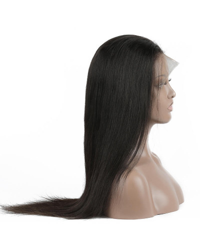 Glueless Malaysian Human Hair Silky Straight 130% Density Lace Front Wig