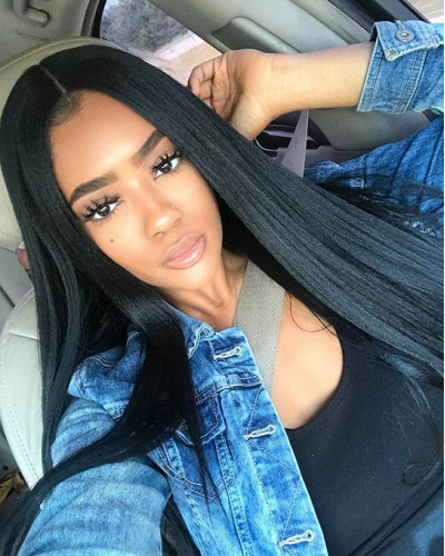 Affordable Virgin Human Hair Yaki Straight 130% Density Lace Front Wig