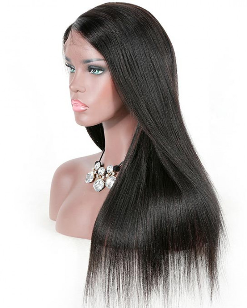 Pre Plucked Yaki Straight Brazilian Virgin Hair Lace Front Wigs