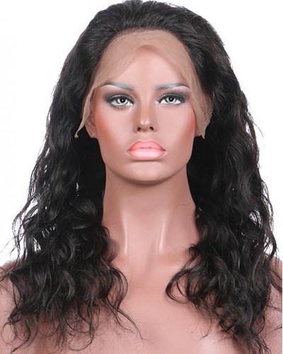 Natural Wave 130% Density Malaysian Hair Glueless Lace Front Wig