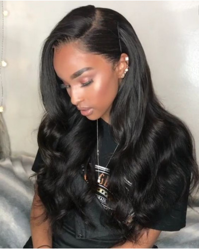 Natural Hairline Malaysian Hair Body Wave 130% Density Lace Front Wig