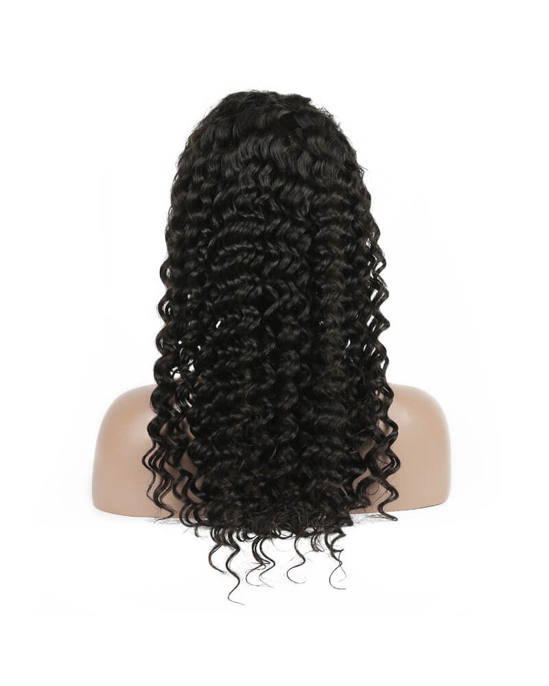 Glueless Brazilian Remy Hair Deep Wave 130% Density Lace Front Wig