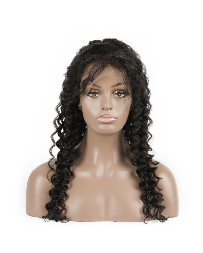Pre Plucked Deep Wave 150% Density Brazilian Virgin Hair Lace Front Wigs