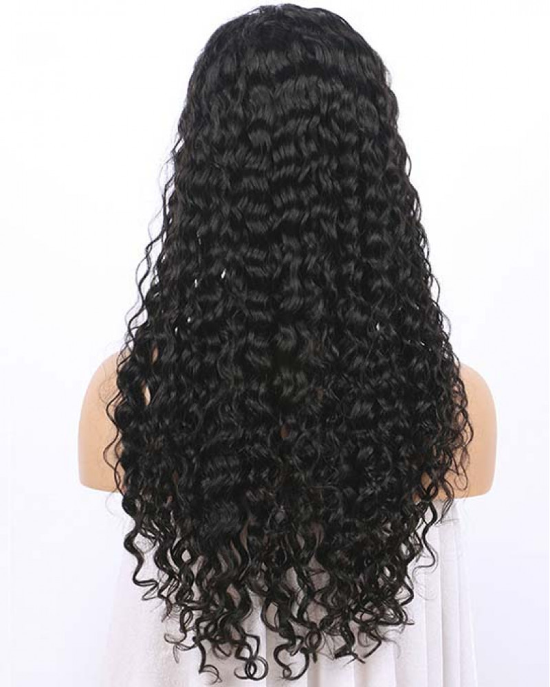 Pre Plucked Water Wave Brazilian Virgin Hair Lace Front Wigs