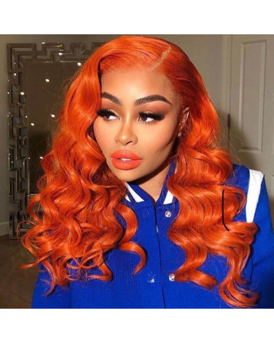 Most Popular Orange Colorful Wig 150% Density Lace Front Wig