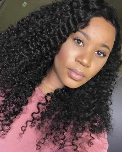 Most Popular Malaysian Remy Hair 130% Density Deep Curly Lace Front Wig