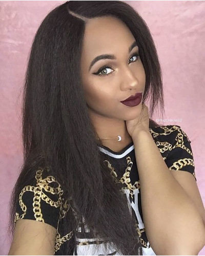 Kinky Straight Brazilian Remy Hair 130% Density Lace Front Wig