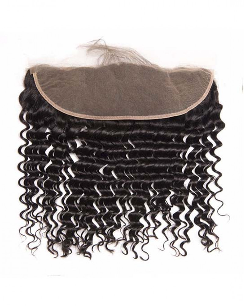 2 Bundles Deep Wave Brazilian Virgin Hair Weaves With A Lace Frontal