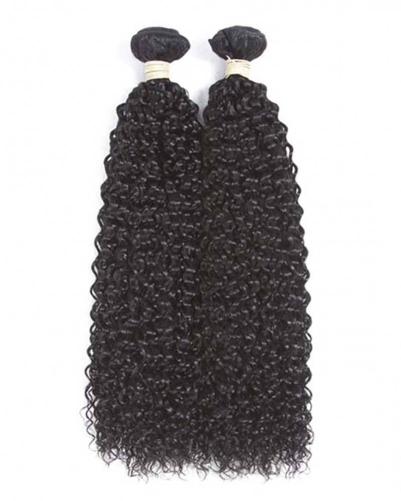 2 Bundles Kinky Curly Brazilian Virgin Hair Weaves With A Lace Frontal