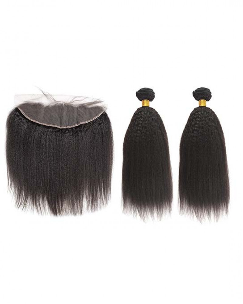 2 Bundles Kinky Straight Brazilian Virgin Hair Weaves With A Lace Frontal