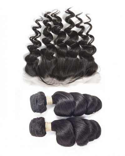 2 Bundles Loose Wave Brazilian Virgin Hair Weaves With A Lace Frontal