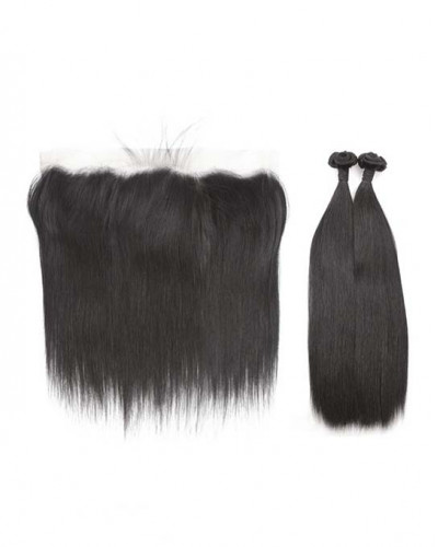 2 Bundles Silky Straight Brazilian Virgin Hair Weaves With A Lace Frontal