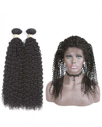 Virgin Brazilian Hair Kinky Curly 360 Lace Frontal With 2 bundles