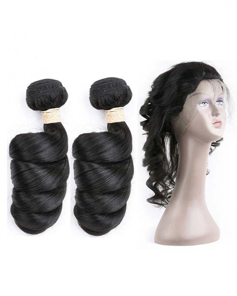 Virgin Brazilian Hair Loose Wave 360 Lace Frontal With 2 bundles