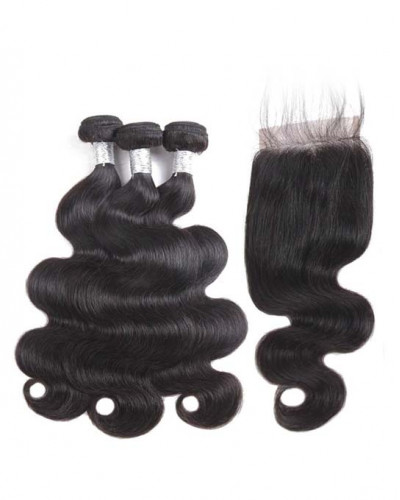 3 Bundles Body Wave Brazilian Virgin Hair Weaves With A Lace Closure