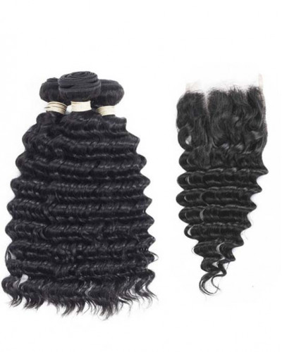 3 Bundles Deep Wave Brazilian Virgin Hair Weaves With A Lace Closure