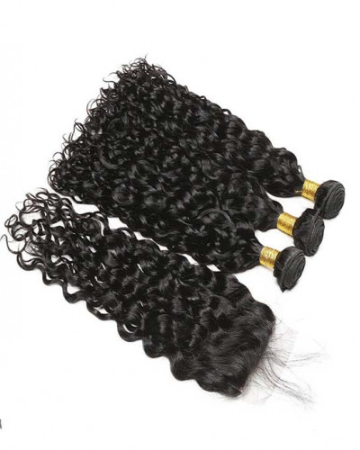 3 Bundles Natural Wave Brazilian Virgin Hair Weaves With A Lace Closure
